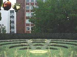 Freiluftarena in Anlehnung an die historischen Wallanlagen mit (Paradies-)Apfel im Vordergrund - Blick Richtung Curienstrasse