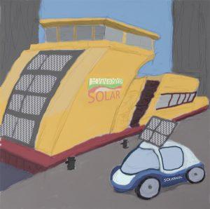 Hadag-Solarfähre und Solar-Mobil